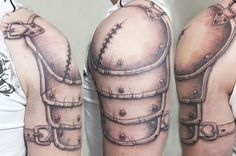 Shoulder armor tattoo with wound