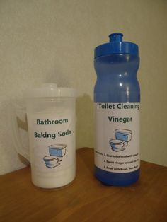 Homemade Toilet Cleaner: So simple and easy! You will need a water bottle of straight white vinegar and a container of baking soda. Since the containers will be coming in close proximity of the toilet, please label so your kitchen and bathroom products don't cross paths! Simply coat the inside of your toilet bowl with baking soda, then squirt with vinegar, scrub with a toilet brush, and enjoy a shiny toilet bowl! Don't waste your money on expensive toilet bowl cleaner!