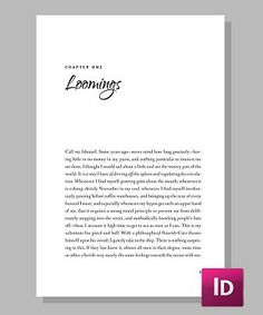 Legend evokes the feelings you stir in your readers, with an elegant script display front and a traditional page layout. This efficient design will save you pages too, when you're ready for your print on demand novel's breakthrough. Legend - Template for InDesign Layout: For Print and eBook Fonts: Fanwood, Quigley Suggested Uses: Romance, Contemporary, Adventure Price: Starting at $77