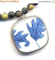 SALE 15% off Porcelain Pendant Necklace Blue Leaf by Annaart72
