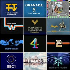 TV logos + the Test Card from the 1970s Childhood, My Childhood Memories, Popular Logos, 80s Tv, Test Card, Vintage Typography, Old Tv Shows, Star Citizen, Teenage Years