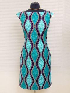 Handmade African Print Ankara Boat Neck Shift Dress by Louvoshine