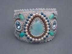 Free Shipping , Bead Embroidery,  Bracelet, Statement cuff,  Seed bead bracelet,  Silver,  Blue,  White,  Larimar gemstone,  Amazonite,