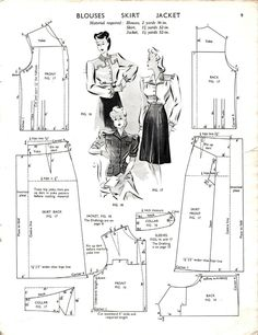 1943- Blouses Skirt Jacket