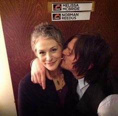 Lucky Carol (Melissa McBride) to be getting some loving from Daryl (Norman Reedus). The Walking Dead should put these two in a relationship as they are perfect for each other. This is a great pic of these two awesome characters. ~Me  #TheWalkingDead #NormanReedus #MelissaMcBride