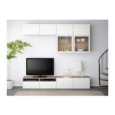 """BESTÅ TV storage combination/glass doors, walnut effect light gray, Selsviken high gloss/white clear glass - 94 1/2x15 3/4x90 1/2 """" - drawer runner, push-open - IKEA"""