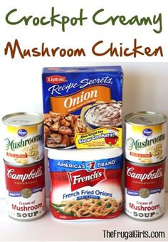 Crockpot Creamy Mushroom Chicken Recipe! ~ from TheFrugalGirls.com ~ just a few ingredients and you've got yourself a delicious Slow Cooker dinner! It's SO easy! #slowcooker #recipes #thefrugalgirls