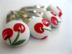 Snap Hair Clips  Funky Hair Barrettes  Set of four Red by Rotifera, $5.00