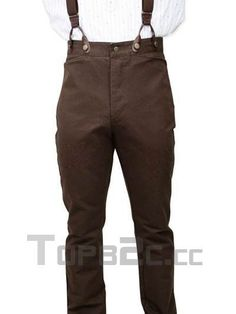 Steampunk Clothing Men | Modern Nut-brown Cotton Mens Steampunk Trousers