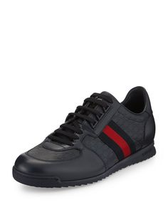 Lace-Up Sneaker with Web Detail, Size: 12G/13US, Navy - Gucci