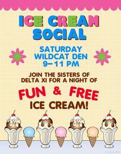 College University | Campus Event | Ice Cream Social Poster Idea #residentassistant