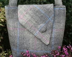 c7efb75d00 Scottish Harris Tweed Tote Bag in purple green check Plaid