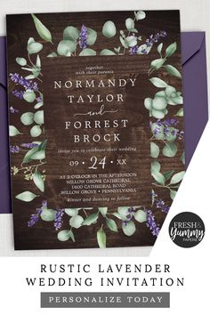 Rustic Lavender and Eucalyptus Wedding Invitation by Fresh & Yummy Paperie. The modern rustic design features greenery a Country Style Wedding, Rustic Wedding, Fall Wedding, Dream Wedding, Country Weddings, Lavender Wedding Invitations, Eucalyptus Wedding, Eucalyptus Leaves, Rustic Home Interiors