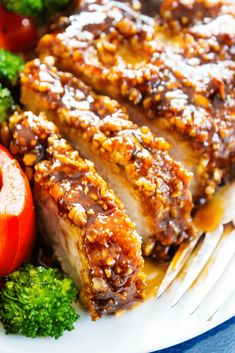 CASHEW OVEN-FRIED PORK CHOPS - Full of flavor and crispy coating made with cashews & cornflake crumbs, you would never know these pork chops weren't fried.