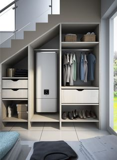 Stair Shelves, Staircase Storage, Stair Storage, Closet Storage, Home Stairs Design, Home Building Design, Home Room Design, Home Interior Design, Kitchen Under Stairs
