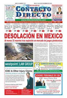 SEMANARIO CONTACTO DIRECTO EDICIÓN 22 DE DICIEMBRE  Periódico Contacto Directo Edición 22 de Diciembre