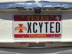"Scott Clifford '94 shared this photo of his #IowaState Texas license plate. Needless to say, we were ""XCYTED"" to see this display of school spirit."