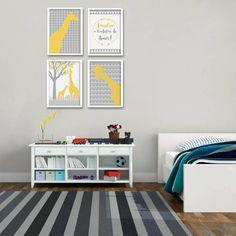 Parede Pronta com 4 Itens, posters infantis da suh riediger, girafas, quadros para quarto de criança