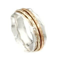 Silver Spinning Ring with 2 Goldfilled bands - catalog