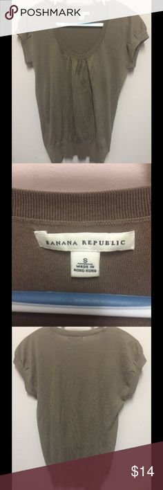 Banana Republic Brown Short Sleeve Shirt Banana Republic Brown Short Sleeve Shirt; material is 100% cotton and is gently used (there is a slight tear near the label (in photo) nut otherwise good condition)  size S *necklace is for display/decoration only Banana Republic Tops Tees - Short Sleeve