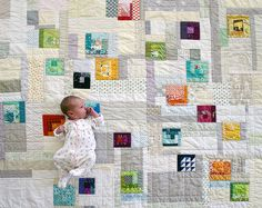 Jessie, the president of the DC Modern Quilt Guild, just had a baby. I was lucky enough to get to put together the blocks from the MQG memb. Quilt Baby, Baby Girl Quilts, Strip Quilts, Patch Quilt, Quilting Projects, Quilting Designs, Quilting Ideas, Low Volume Quilt, Crumb Quilt