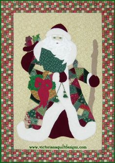 If you love Crazy Quilting and Father Christmas, you won't be able to resist this quilt pattern. Use special fabrics like velvet to add elegance to the project. http://www.victorianaquiltdesigns.com/VictorianaQuilters/PatternPage/CrazyQuiltFatherChristmas/CrazyQuiltFatherChristmas.htm #quilting #Christmas