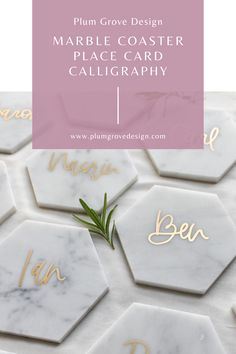 Marble Tile Coasters for place cards or escort cards. by Plum Grove Design Pocketfold Invitations, Wedding Invitations, Diy Wedding Favors, Wedding Placecard Ideas, Wedding Favora, Wedding Ideas, Wedding Flowers, Wedding Koozies, Wedding Weekend