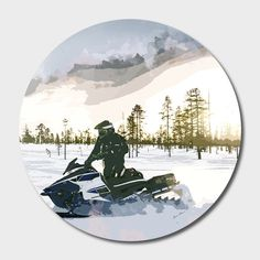 Discover «End of Day Snowmobiling», Exclusive Edition Disk Print by Elaine Plesser - From $85 - Curioos