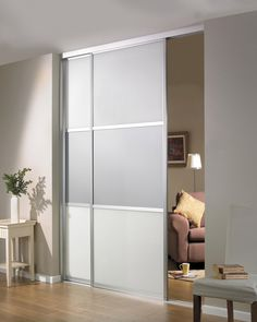 Inspirational Beautiful Sliding Room Divider Design Idea in Gray with Two Panels and Single Rail Installed in