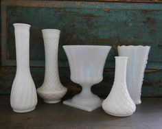 Milk Glass Vases Wedding Centerpieces by turquoiserollerset, $44.00