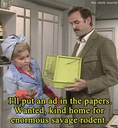 Discover & share this Fawlty Towers GIF with everyone you know. GIPHY is how you search, share, discover, and create GIFs. British Tv Comedies, British Comedy, Connie Booth, Fawlty Towers, Comedy Tv Shows, Great Comedies, British Humor, Uk Tv, Monty Python