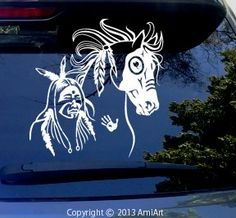 Amazon.com: Native Tribal AMERICAN INDIAN Great Spirit Mustang War Horse -LARGE Vinyl Horse Decal Sticker for Car Truck Trailer: Automotive