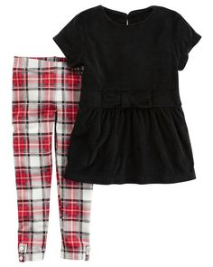 Carter's 2 Piece Black Peplum Top with Bow Detail and White/Red/Black Plaid Leggings Set - Toddler