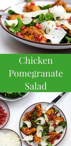 Chicken pomegranate salad for lunch or dinner. Huhn-Granatapfelsalat mit Ziegenkäse und Feldsalat. .................. salat, salad, low carb, lc, lchf, keto, feldsalat, salat rezepte, salat im glas, salat grillen, salat Rezept deutsch, salat Rezept schnell, salat Rezept gesund, abnehmen, gesund essen, gesunde Ernährung, ohne Kohlenhydrate, salad bowl, salad recipes, Rezept, foodblog, low carb salat Rezept, Hühnchen salat, Hühnchen Rezept, goat cheese