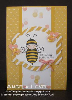 This card features the very cute Stampin' Up! Baby Bumblebee stamp and Lullaby DSP available from my online store: http://www.angelaspaperarts.stampinup.net/ #angelaspaperarts