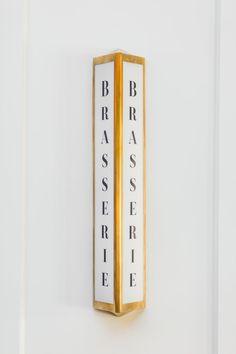 Brasserie signage design by Jamie Anholt Restaurant Signage, Retail Signage, Wayfinding Signage, Signage Design, Cafe Signage, Environmental Graphic Design, Environmental Graphics, Pop Display, Display Design