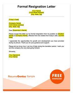 Sample Professional Letter Formats | sample resignation letter ...