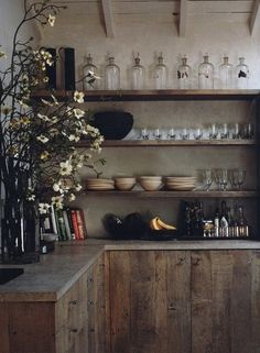 Small kitchen -- open shelves, rustic reclaimed wood cabinets, minimal
