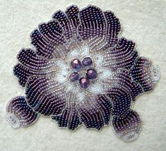 bead embroidery by olga orlova | Bead embroidery by Olga Orlova. Violet Flower Brooch