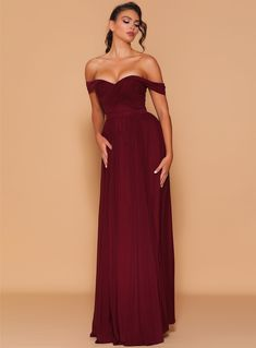 A stunning full length dress by Les Demoiselle LD1104. An off shouder style featuring ruching on the bodice and A-line flowy skirt. Wine Bridesmaid Dresses, Wedding Dresses, Strapless Dress Formal, Formal Dresses, Flowy Skirt, Mesh Fabric, Bodice, Shoulder Dress, Gowns