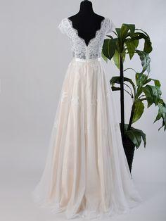 Lace wedding dress wedding dress bridal gown cap by ELDesignStudio