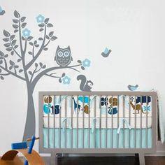 chouette stickers muraux arbre arbre décalque de mur avec des oiseaux les écureuils de pépinière de bébé décorations de chambre