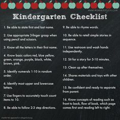 Prepare Your Child for Kindergarten Checklist - A List You Can Use!! SEE FOREVERGREENMOM.COM