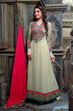 USD 43.85 Beige Resham Work Ankle Length Abaya Style Suit   40679
