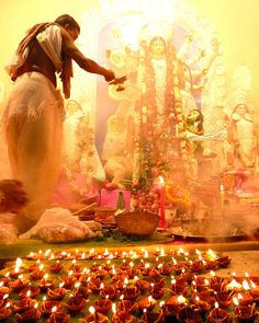 Navratri Festival: The feminine divine form is celebrated with candle lit processions, cooking, dancing, singing, water & sky lanterns, and even burning effigies of evil. Based on dates in the lunar calendar, Navratri is a nine-night, ten-day festival that takes place in the fall celebrating the Hindu goddess Durga.