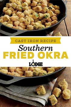 This summer garden favorite is a southern staple. With cornmeal coating, this fried okra recipe turns into delicious crunchy bites, making them a perfect side for any meal. Dutch Oven Cooking, Cast Iron Cooking, Easy Cooking, Italian Cooking, Cooking Tips, Vegetarian Barbecue, Barbecue Recipes, Vegetarian Recipes, Vegetarian Cooking