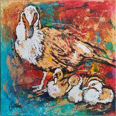 Muscovy Ducklings 24x24 Acrylic