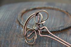 Mixed metal hair fork hair pin hair stick copper by Keepandcherish