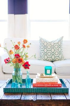 Fresh spring coffee table setting with ocean blue decoration