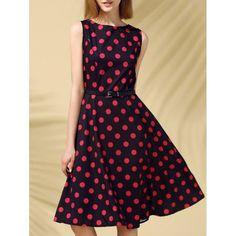 Retro Style Sleeveless Round Neck Polka Dot Women's Dress